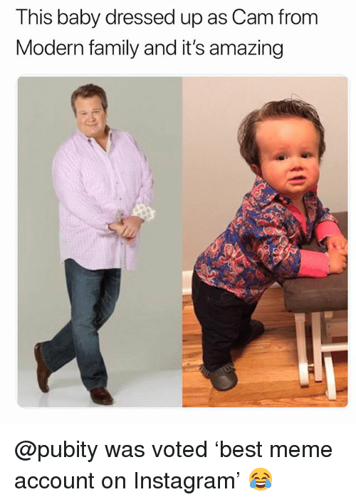 Family, Funny, and Instagram: This baby dressed up as Cam from  Modern family and it's amazing @pubity was voted 'best meme account on Instagram' 😂
