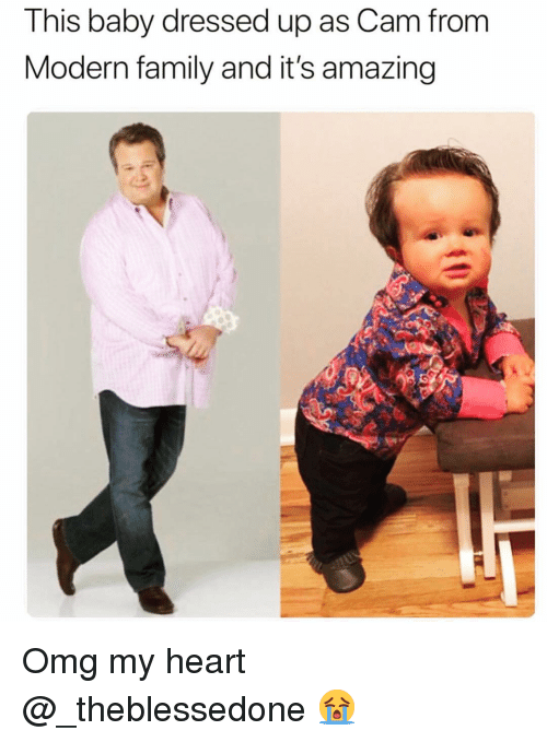 Family, Funny, and Omg: This baby dressed up as Cam from  Modern family and it's amazing Omg my heart @_theblessedone 😭