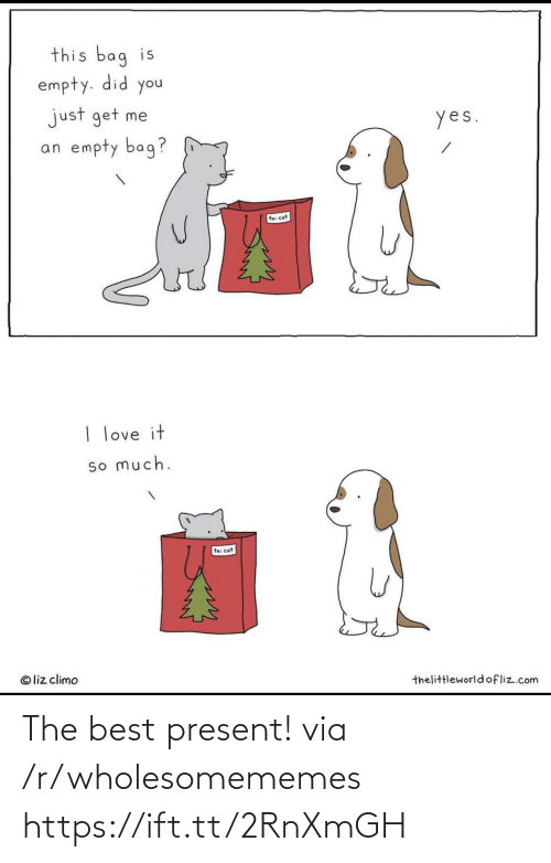 Liz Climo: this bag is  empty. did you  just get me  an empty bag?  yes.  te: cat  I love it  so much.  to: cat  © liz climo  thelittleworldofliz.com The best present! via /r/wholesomememes https://ift.tt/2RnXmGH