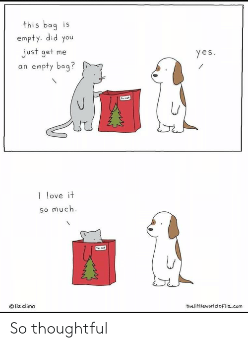 Liz Climo: this bag is  empty. did you  just get me  yes.  an empty bag?  t cat  I love it  so much.  te cat  © liz climo  thelittleworldofliz.com So thoughtful