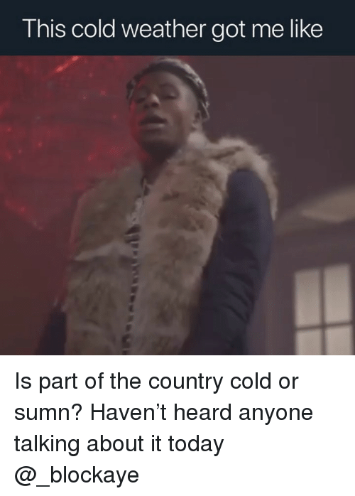 Today, Weather, and Dank Memes: This cold weather got me like Is part of the country cold or sumn? Haven't heard anyone talking about it today @_blockaye
