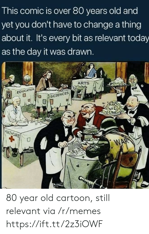 Old Cartoon: This comic is over 80 years old and  yet you don't have to change a thing  about it. It's every bit as relevant today  as the day it was drawn.  ARTS AL  EDUCATION 80 year old cartoon, still relevant via /r/memes https://ift.tt/2z3iOWF