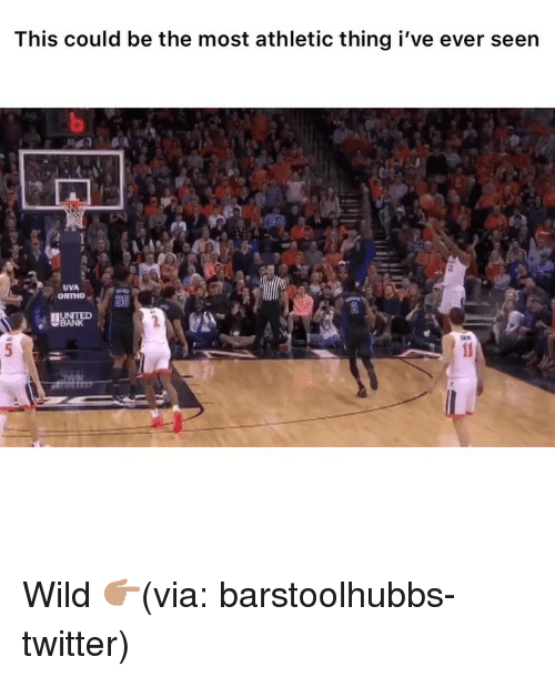 Funny, Twitter, and Bank: This could be the most athletic thing i've ever seen  UVA  ORTHO  BANK Wild 👉🏽(via: barstoolhubbs-twitter)
