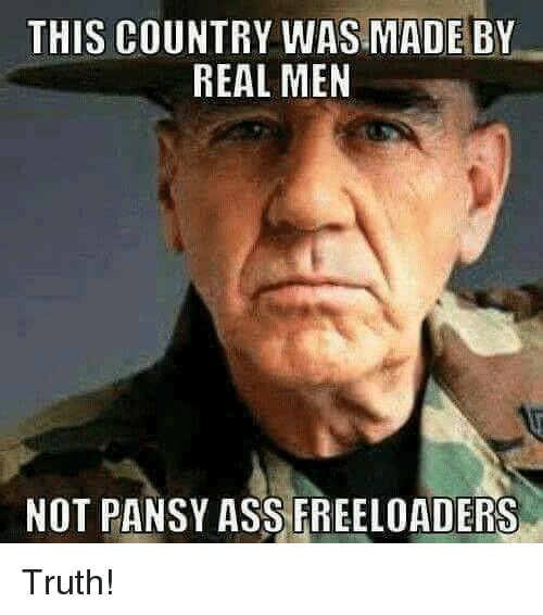 Ass, Memes, and Truth: THIS COUNTRY WAS MADE BY  REAL MEN  NOT PANSY ASS FREELOADERS Truth!