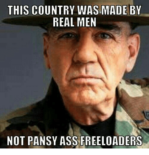 Memes, Pansies, and 🤖: THIS COUNTRY WAS MADE BY  REAL MEN  NOT PANSY ASS FREELOADERS