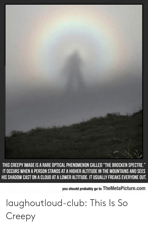 spectre: THIS CREEPY IMAGE IS A RARE OPTICAL PHENOMENON CALLED THE BROCKEN SPECTRE  IT OCCURS WHEN A PERSON STANDS AT A HIGHER ALTITUDE IN THE MOUNTAINS AND SEES  HIS SHADOW CAST ON A CLOUD AT A LOWER ALTITUDE. IT USUALLY FREAKS EVERYONE OUT  you should probably go to TheMetaPicture.com laughoutloud-club:  This Is So Creepy