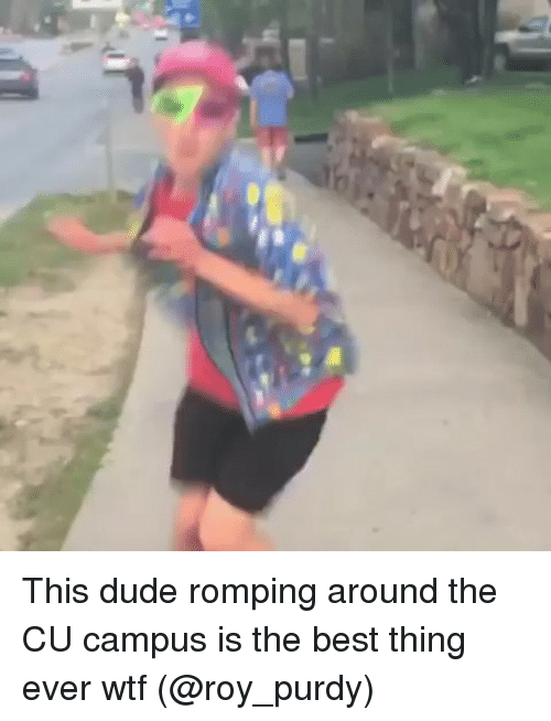 Dude, Memes, and Wtf: This dude romping around the CU campus is the best thing ever wtf (@roy_purdy)