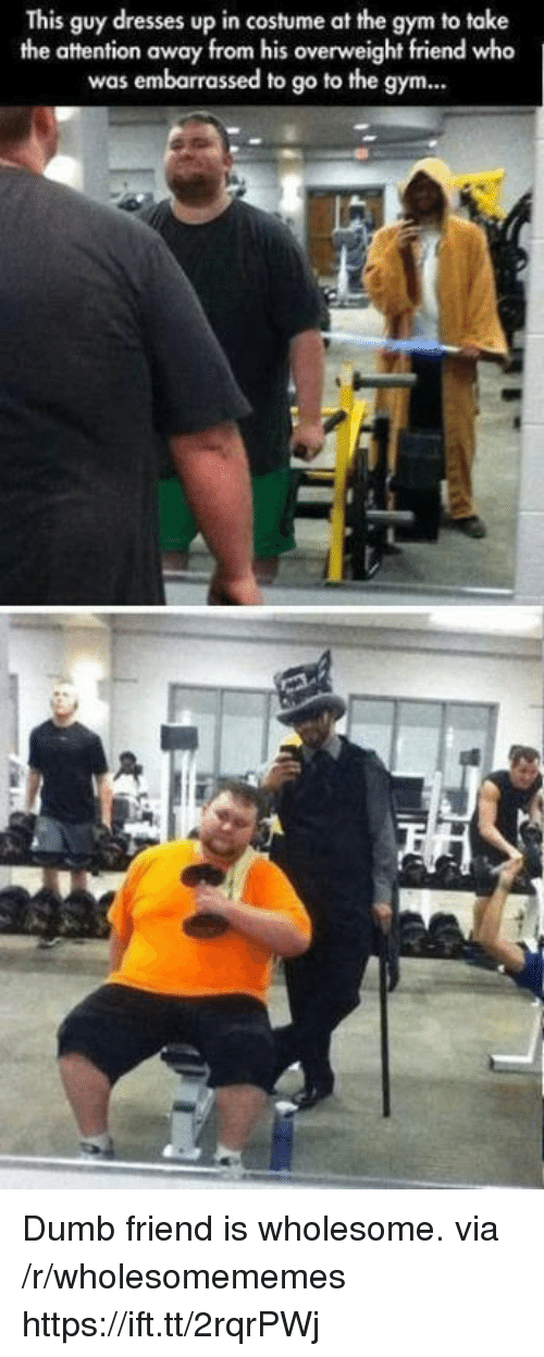 Dumb, Gym, and Dresses: This guy dresses up in costume at the gym to take  the attention away from his overweight friend who  was embarrassed to go to the gym... Dumb friend is wholesome. via /r/wholesomememes https://ift.tt/2rqrPWj