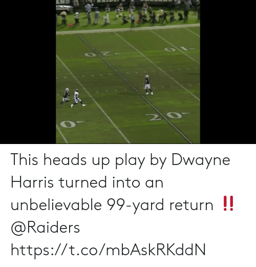 Memes, Raiders, and 🤖: This heads up play by Dwayne Harris turned into an unbelievable 99-yard return ‼️ @Raiders https://t.co/mbAskRKddN