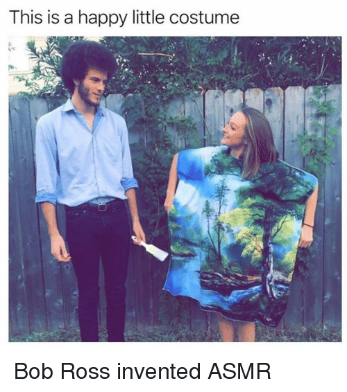 Funny, Bob Ross, and Happy: This is a happy little costume Bob Ross invented ASMR