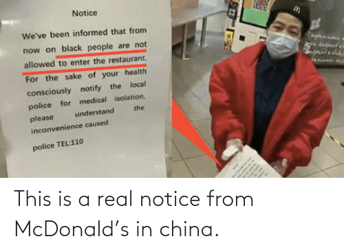 This Is A: This is a real notice from McDonald's in china.