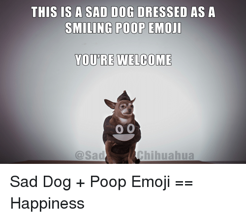 THIS IS a SAD DOG DRESSED AS a SMILING POOP EMOJI YOURE