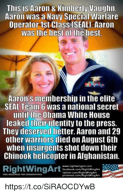 Memes, Pinterest, and Afghanistan: This is Aaron 8 Kimberly Vaughn  Aaron was a Navy Special Warfare  Operator 1st Class (SEAL] Aaron  Was the best of the best  Aaron's membership in the elite  SEAL Team 6 was anational Secret  until the Obama White House  leaked their identity to thepress.  They deserved better. Aaron and 29  other warriors died on August 6th  When insurgents shot down their  Chinook helicopter in Afghanistan.  www.rightwingart.com  RightWingArt  facebook.com/RightWingArt  twitter.com/RightWingArt  FREE RESOURCES FOR CONSERNATIVES  pinterest.com/RightwingArt https://t.co/SiRAOCDYwB