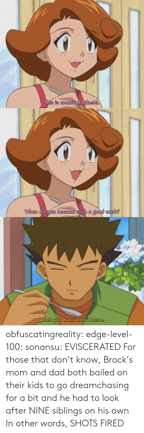mom and dad: This is amazing, Takeshi   When did you become such a good cook?   When you two weren't home. obfuscatingreality:  edge-level-100:  sonansu: EVISCERATED   For those that don't know, Brock's mom and dad both bailed on their kids to go dreamchasing for a bit and he had to look after NINE siblings on his own In other words, SHOTS FIRED
