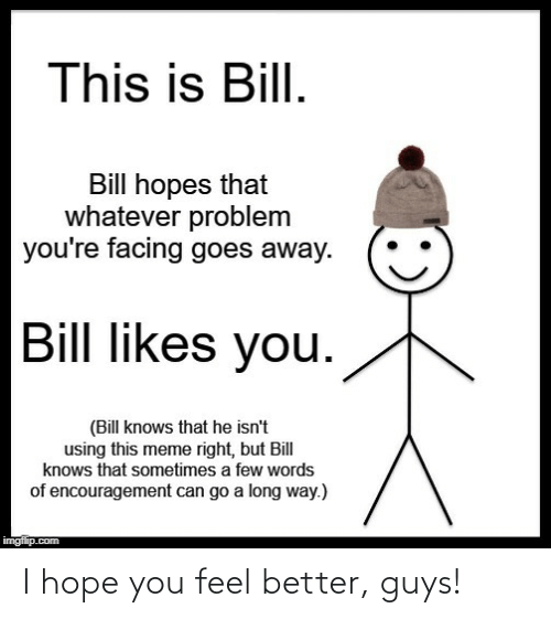 Hopes: This is Bill.  Bill hopes that  whatever problem  you're facing goes away.  Bill likes you.  (Bill knows that he isn't  using this meme right, but Bill  knows that sometimes a few words  of encouragement can go a long way.)  imgflip.com I hope you feel better, guys!
