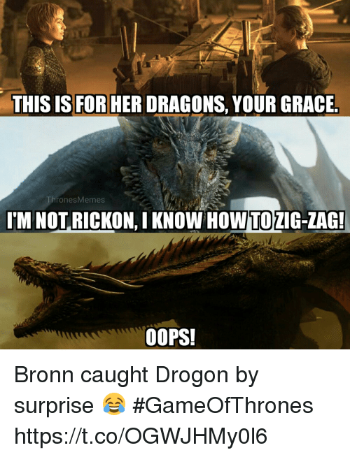 Memes, Dragons, and 🤖: THIS IS FOR HER DRAGONS, YOUR GRACE  ThronesMemes  I'M NOT RICKON, I KNOW  HOWTO  ZIG-ZAG  OOPS! Bronn caught Drogon by surprise 😂 #GameOfThrones https://t.co/OGWJHMy0l6