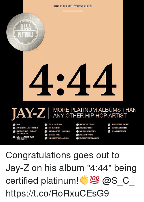 """gangsters: THIS IS HIS 13TH STUDIO ALBUM  PLATINUM  TH  4:44  MORE PLATINUM ALBUMS THAN  ANY OTHER HIP HOP ARTIST  4:44  I WATCH THE THRONE  THE BLUEPRINT 3  ·AMERICAN GANGSTER  ICOLLISION COURSE  1 IN MY UFETIME, VOLUME I  UNANISHED BUSINESS  REASONABLE DOUBT  ● THE BLACK ALBUM  · THE BLUEPRINT  ●HARD KNOCK UFE, VOLUME 2  THE BLUEPRINT 2: THE GIFT  I MAGNA CARTER  KINGDOM COME  .   HOLY GRAIL  AND THE CURSE  VOL3..LIFE AND TIMES  OF S. CARTER  · THE DYNASTY: ROC-LA-FAMILIA- THE BEST OF BOTHWORLDS Congratulations goes out to Jay-Z on his album """"4:44"""" being certified platinum!👏💯 @S_C_ https://t.co/RoRxuCEsG9"""