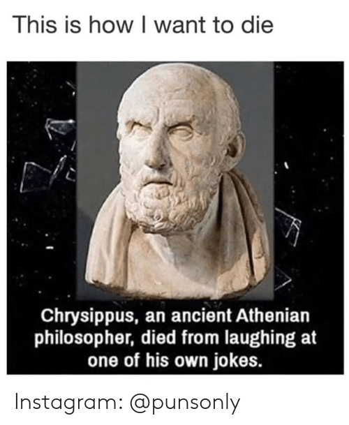 philosopher: This is how I want to die  Chrysippus, an ancient Athenian  philosopher, died from laughing at  one of his own jokes. Instagram: @punsonly