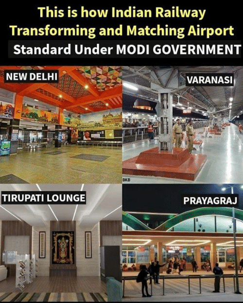 Memes, Indian, and Government: This is how Indian Railway  Transforming and Matching Airport  Standard Under MODI GOVERNMENT  NEW DELHI  VARANASI  BKB  TIRUPATI LOUNGE  PRAYAGRAJ