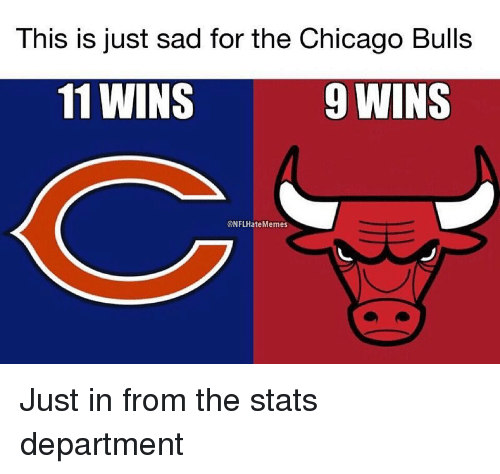 Chicago, Chicago Bulls, and Sports: This is just sad for the Chicago Bulls  11 WINS  9 WINS  @NFLHateMemes Just in from the stats department