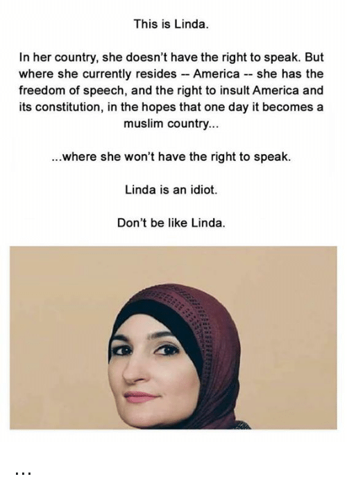 America, Be Like, and Memes: This is Linda  In her country, she doesn't have the right to speak. But  where she currently resides - America - she has the  freedom of speech, and the right to insult America and  its constitution, in the hopes that one day it becomes a  muslim country...  ...where she won't have the right to speak.  Linda is an idiot.  Don't be like Linda ...