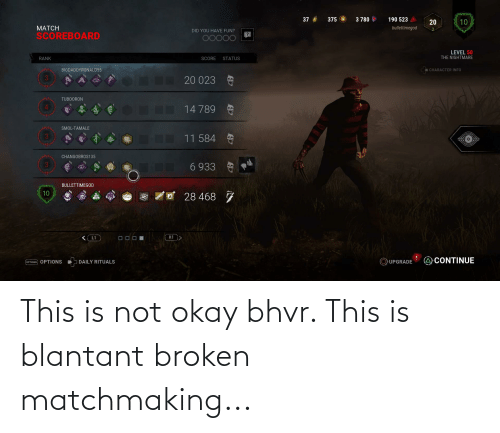 This Is Not Okay: This is not okay bhvr. This is blantant broken matchmaking...