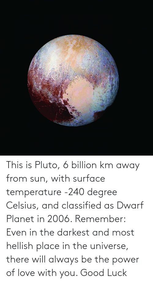 classified: This is Pluto, 6 billion km away from sun, with surface temperature -240 degree Celsius, and classified as Dwarf Planet in 2006. Remember: Even in the darkest and most hellish place in the universe, there will always be the power of love with you. Good Luck