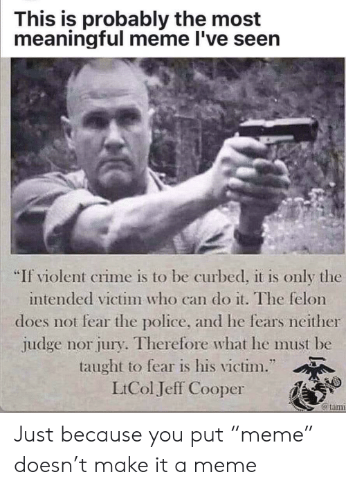 """Crime, Meme, and Police: This is probably the most  meaningful meme I've seen  """"If violent crime is to be curbed, it is only the  intended victim who can do it. The felon  does not fear the police, and he fears neither  judge nor jury. Therefore what he must be  taught to fear is his victim.""""  LtCol Jeff Cooper  @tam Just because you put """"meme"""" doesn't make it a meme"""