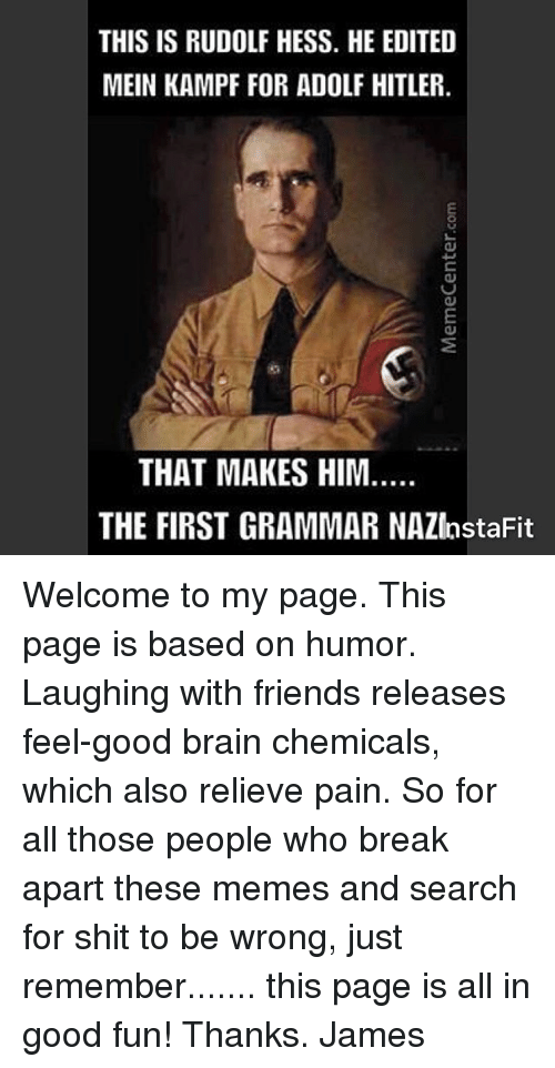 Friends, Memes, and Shit: THIS IS RUDOLF HESS. HE EDITED  MEIN KAMPF FOR ADOLF HITLER  THAT MAKES HIM.  THE FIRST GRAMMAR NAZInstaFit Welcome to my page. This page is based on humor. Laughing with friends releases feel-good brain chemicals, which also relieve pain. So for all those people who break apart these memes and search for shit to be wrong, just remember....... this page is all in good fun! Thanks. James