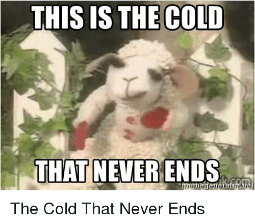 Funny, Cold, and Never: THIS IS THE COLD  THAT NEVER ENDS The Cold That Never Ends