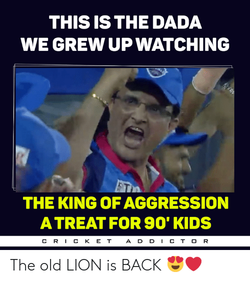 Memes, Kids, and Lion: THIS IS THE DADA  WE GREW UP WATCHING  THE KING OF AGGRESSION  A TREAT FOR S90' KIDS  CR丨CKET  A D D CT O R The old LION is BACK 😍❤️