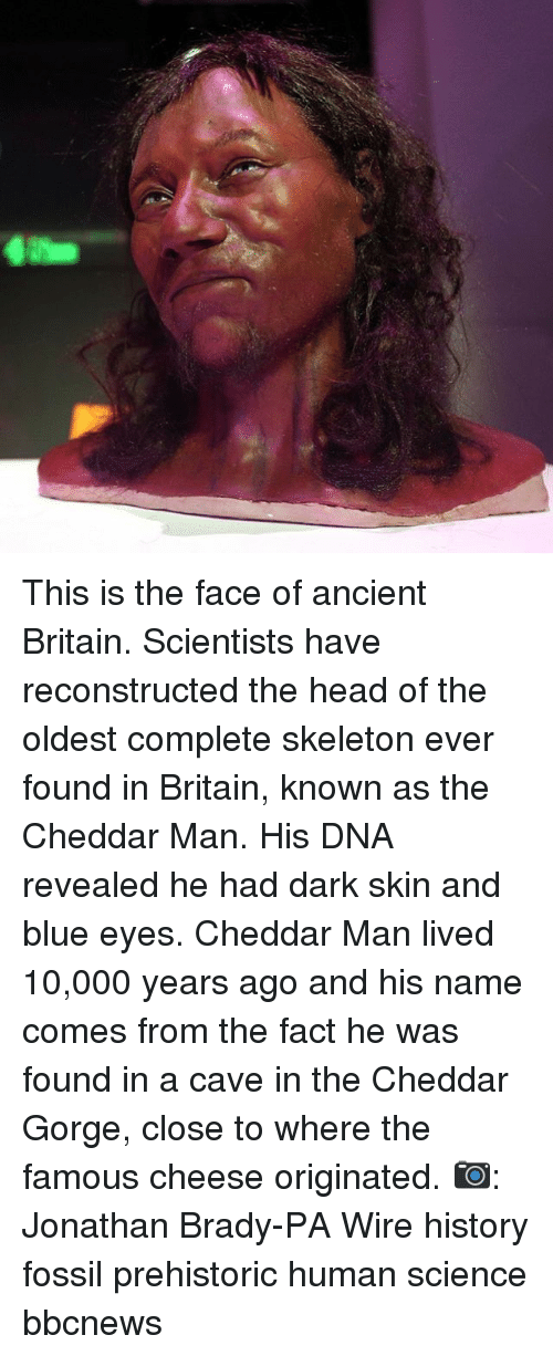 Head, Memes, and Blue: This is the face of ancient Britain. Scientists have reconstructed the head of the oldest complete skeleton ever found in Britain, known as the Cheddar Man. His DNA revealed he had dark skin and blue eyes. Cheddar Man lived 10,000 years ago and his name comes from the fact he was found in a cave in the Cheddar Gorge, close to where the famous cheese originated. 📷: Jonathan Brady-PA Wire history fossil prehistoric human science bbcnews