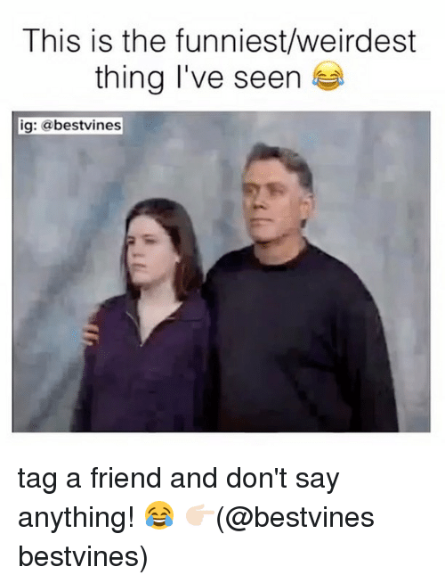 Memes, Say Anything..., and 🤖: This is the funniest/weirdest  thing I've seen  ig: abestvines tag a friend and don't say anything! 😂 👉🏻(@bestvines bestvines)
