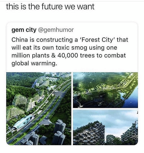 smog: this is the future we want  gem city @gemhumor  China is constructing a 'Forest City' that  will eat its own toxic smog using one  million plants & 40,000 trees to combat  global warming.