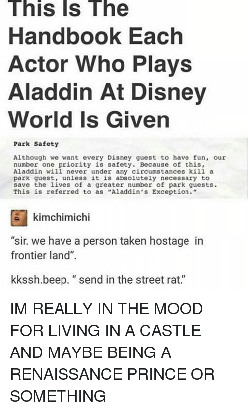 """Aladdin, Disney World, and Memes: This Is The  Handbook Each  Actor Who Plays  Aladdin At Disney  World Is Given  Park Safety  Although we want every Disney guest to have fun, our  number one priority is safety. Because of this,  Aladdin will never under any circumstances kill a  park guest, unless it is absolutely necessary to  save the lives of a greater number of park guests.  This is referred to as """"Aladdin's Exception.""""  kimchimichi  """"sir. we have a person taken hostage in  frontier land""""  kkssh.beep. send in the street rat. IM REALLY IN THE MOOD FOR LIVING IN A CASTLE AND MAYBE BEING A RENAISSANCE PRINCE OR SOMETHING"""