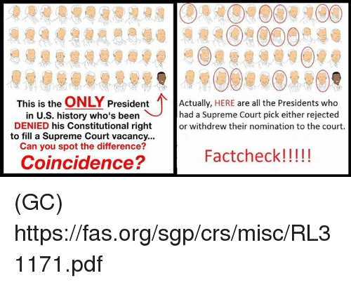 Memes, Supreme, and Supreme Court: This is the  ONLY  President  Actually  HERE are all the Presidents who  in U.S. history who's been had a Supreme Court pick either rejected  DENIED his Constitutional right  or withdrew their nomination to the court.  to fill a Supreme Court vacancy...  Can you spot the difference?  Factcheck!  Coincidence? (GC) https://fas.org/sgp/crs/misc/RL31171.pdf