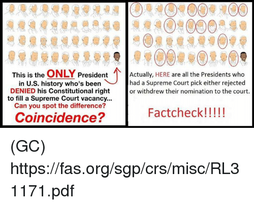 Facts, Memes, and Supreme: This is the  ONLY  President  Actually,  HERE are all the Presidents who  in U.S. history who's been had a Supreme Court pick either rejected  DENIED his Constitutional right  or withdrew their nomination to the court.  to fill a Supreme Court vacancy...  Can you spot the difference?  Fact check!  Coincidence? (GC) https://fas.org/sgp/crs/misc/RL31171.pdf