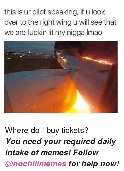 Lit, Memes, and My Nigga: this is ur pilot speaking, if u look  over to the right wing u will see that  we are fuckin lit my nigga Imao <p>Where do I buy tickets?</p><p><b><i>You need your required daily intake of memes! Follow <a>@nochillmemes</a>​ for help now!</i></b><br/></p>