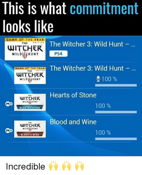 Anaconda, Memes, and Ps4: This is what  commitment  looks like  GAME OF THE YEAR  The Witcher 3: Wild Hunt  THE  WITCHER  PS4  WILD HUNT  The Witcher 3: Wild Hunt  GAME OF THE YEAR  THE  WITCHER  2100  WILD HUNT  Hearts of Stone  HER  100  HEARTS STONE  Blood and Wine  WITCHER  100  BLOOD WINE Incredible 🙌 🙌 🙌
