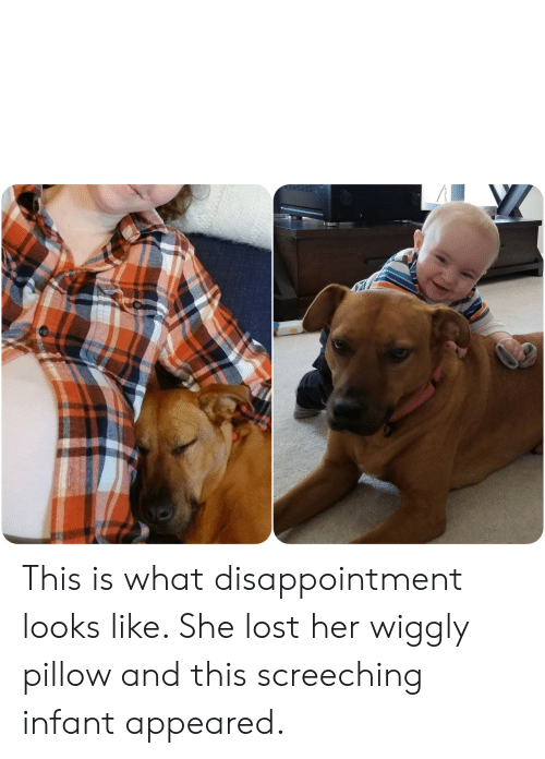Infant: This is what disappointment looks like. She lost her wiggly pillow and this screeching infant appeared.
