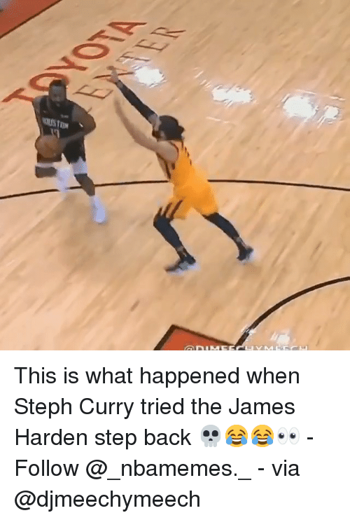 Steph Curry: This is what happened when Steph Curry tried the James Harden step back 💀😂😂👀 - Follow @_nbamemes._ - via @djmeechymeech