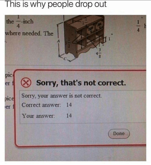 Sorry, Answer, and Inch: This is why people drop out  S IS  the -inch  4  where needed. The  4  pic  sorry, that's not correct.  er  Sorry, your answer is not correct.  pice  er  Correct answer: 14  Your answer: 14  Done