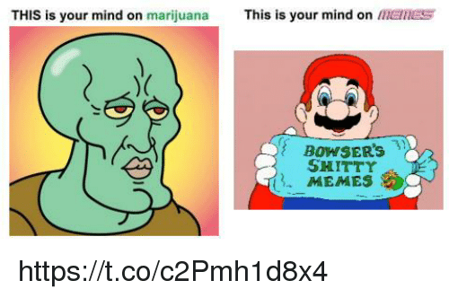 Memes, Marijuana, and Mind: THIS is your mind on marijuana This is your mind on MElNEs  ry  BOWSER's  SHITTY  MEMES https://t.co/c2Pmh1d8x4