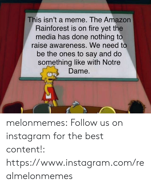 Amazon, Fire, and Instagram: This isn't a meme. The Amazon  Rainforest is on fire yet the  media has done nothing to  raise awareness. We need to  be the ones to say and do  something like with Notre  Dame. melonmemes:  Follow us on instagram for the best content!: https://www.instagram.com/realmelonmemes