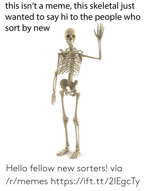Meme This: this isn't a meme, this skeletal just  wanted to say hi to the people who  sort by new Hello fellow new sorters! via /r/memes https://ift.tt/2IEgcTy