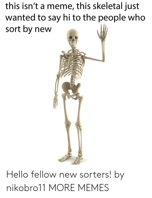 Meme This: this isn't a meme, this skeletal just  wanted to say hi to the people who  sort by new Hello fellow new sorters! by nikobro11 MORE MEMES