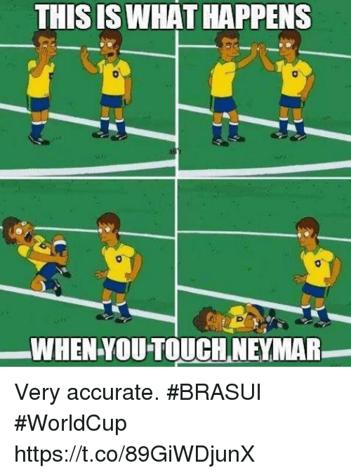 Neymar, Soccer, and Touch: THIS ISWHAT HAPPENS  WHEN YOU TOUCH NEYMAR Very accurate. #BRASUI #WorldCup https://t.co/89GiWDjunX