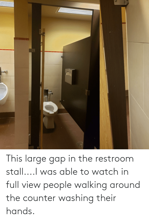 Restroom: This large gap in the restroom stall....I was able to watch in full view people walking around the counter washing their hands.