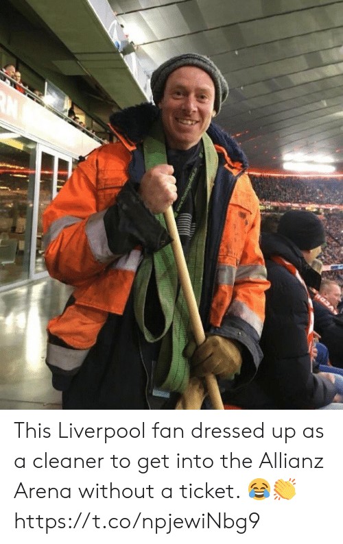 Soccer, Liverpool F.C., and Allianz: This Liverpool fan dressed up as a cleaner to get into the Allianz Arena without a ticket. 😂👏 https://t.co/npjewiNbg9