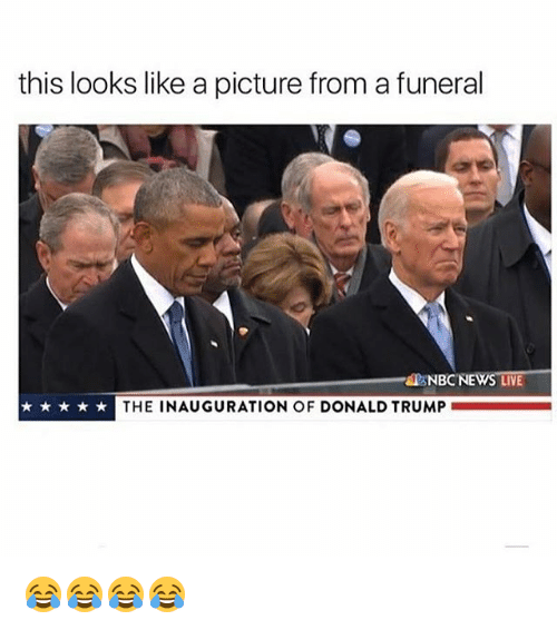 Inauguration Of Donald Trump: this looks like a picture from a funeral  NBC NEWS LIVE  THE INAUGURATION OF DONALD TRUMP 😂😂😂😂